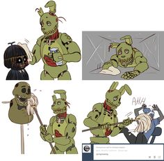 See more 'Springtrap' images on Know Your Meme! Fnaf 1, Anime Fnaf, Anime Guys, Five Nights At Freddy's, Fnaf Characters, Fictional Characters, Art Puns, Freddy 's, William Afton