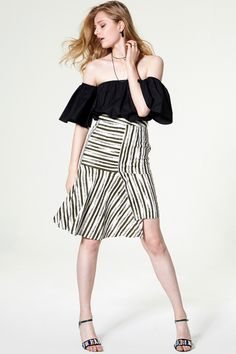 Alayna Asymmetric Stripe Skirt Discover the latest fashion trends online at storets.com