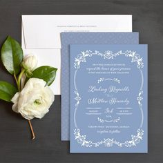 Enchanted Dusk Wedding Invitation in dusty blue color
