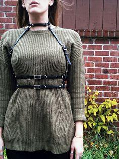 Artemis Leather Harness - Leather Harness - Black - Oxblood - PVC - fashion harness - body harness - bondage - fetish - bdsm