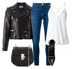 """DENIM Casual"" by kwasheretro on Polyvore featuring Yves Saint Laurent, Frame Denim, Dondup and Chloé"