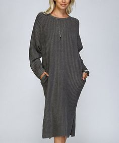 Another great find on #zulily! Charcoal Ribbed Side-Pocket Sweater Dress #zulilyfinds