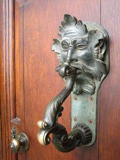 Green Man Trail, Oxfordshire, England, UK: Blenheim Palace 18th-century door knocker.