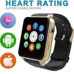 Smart-reloj Sumergible reloj inteligente teléfono Bluetooth/4,0/Fácil conexión/hacer llamadas/Soporte SIM/TF para Apple iphone 5/5S/6/6S plus Smasung s6edge/S6/S5/S4 note5/Nota4, Blackberry, HTC, HUAWEI y otros Android smartphone