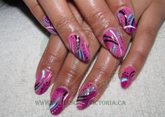 Pink abstract, Shellac and uv gel paint