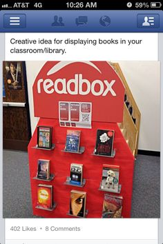 Readbox --- The Caffeinated Librarian. Cute idea to add novelty to the reading library. For more reading ideas -http:/. Classroom Setting, Classroom Setup, Classroom Design, Future Classroom, School Classroom, Classroom Organization, Classroom Management, Classroom Libraries, Cheap Classroom Decorations
