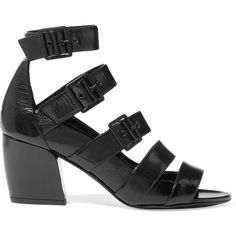Pierre Hardy Parallele buckled glossed textured-leather sandals ($895) ❤ liked on Polyvore featuring shoes, sandals, black, black mid heel sandals, black strap sandals, black sandals, mid heel sandals and black buckle sandals