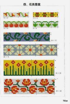 Örgülere İşleme Desenleri Fair Isle Knitting Patterns, Knitting Charts, Knitting Stitches, Knitting Socks, Motif Fair Isle, Fair Isle Pattern, Hand Embroidery Videos, Embroidery Patterns, 123 Cross Stitch
