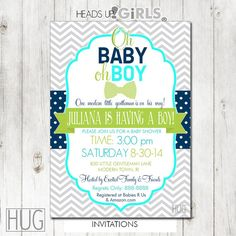 Personalized Navy Lime Green invitations with coordinating products
