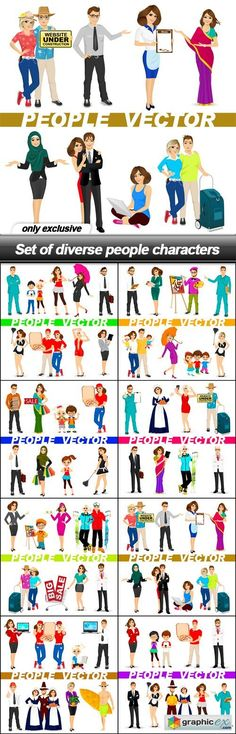 Set of diverse people characters - 17 EPS