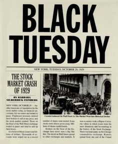 black tuesday- October 29, 1929. On this date, share prices on the New York Stock Exchange completely crashed and 30 billion dollars were lost. This helped shape Canada today because many people became unemployed.