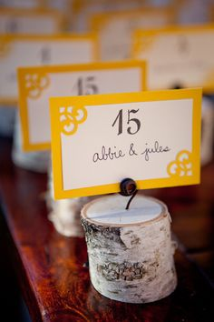 Creative and natural place cards for Lake Tahoe wedding - photos by Catherine Hall Studios | junebugweddings.com