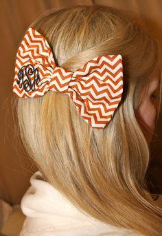 Burnt Orange Chevron Monogram Bow Tie Hair Bow. $16.00, via Etsy.