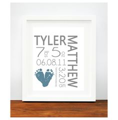 When I have the baby! Baby Footprint Art - Baby Name Art Print - Modern Birth Announcement Poster - Baby Announcement Art. $30.00, via Etsy.