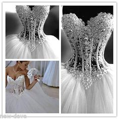 Gorgeous White Pearl Rhinestone Sparkly Ball Gown Wedding Dresses 2-18 Customize