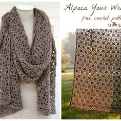 How to Crochet: Alpaca Your Wrap. Learn the stitch repeat for the Alpaca Your Wrap shawl - a free crochet pattern on Moogly! Get the pattern and details on what you saw in the video at . Poncho Au Crochet, Crochet Wrap Pattern, Crochet Shawls And Wraps, Crochet Scarves, Diy Crochet, Crochet Crafts, Crochet Clothes, Crochet Stitches, Crochet Patterns