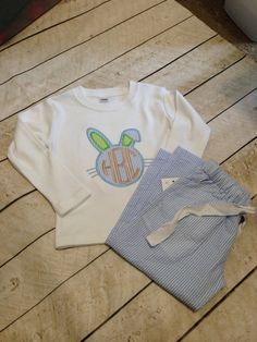 The Perfect Easter Jammies for your little one. Great for girls or boys. Seersucker pj pants can be used year around and have front pockets. Shirt can