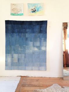 Ombre blue baby quilt, playmat, baby blanket, upcycled denim. by kiudkiud on Etsy https://www.etsy.com/listing/493719688/ombre-blue-baby-quilt-playmat-baby
