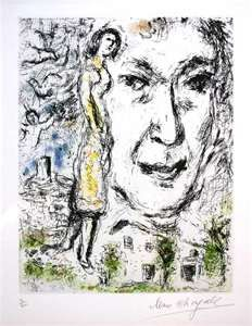 1968 RARE MARC CHAGALL SIGNED AND NUMBERED ETCHING AUTO SELF PORTRAIT ...