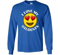 Teacher Emoji Hearts Love My Students Valentines Day T-Shirt