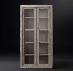 Reclaimed Russian Oak Glass Double-Door Cabinet