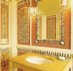 The Powder Room at Bonnie Dune, Southampton. Lined with thousands of shells laid to form architectural decoration. Photo by Billy Cunningham for Architectural Digest. Bathroom Wall, Bathroom Mirror, Architectural Decoration, Florida Room, Shingle Style, Bathroom, Framed Bathroom Mirror, Powder Room, Bathroom Wall Coverings