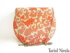 """FLORA""  A beautiful Orange and Gold floral Jacquard Bag In Brocade"