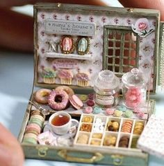 tiny tea time suitcase... cute idea for bringing to someone who is shut in - or in the hospital -or just to brighten their day