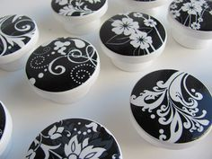 Black and White Flowers and Swirls Drawer Knobs- Wood Knobs - 1 1/2 Inches - Made-to-Order by LeilasLoft on Etsy https://www.etsy.com/listing/116678401/black-and-white-flowers-and-swirls