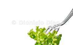 garfo com alface em detalhe