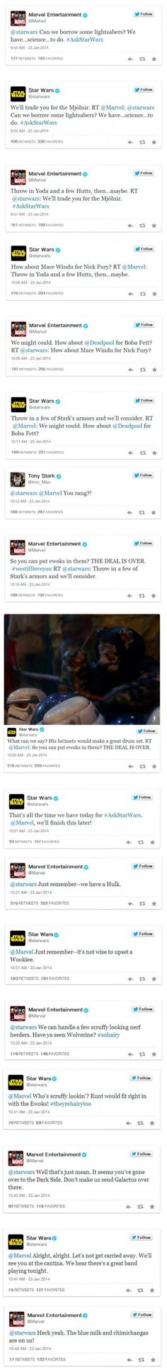 Star Wars and Marvel on Twitter. So cool! Love the Star Wars comment about Wolverine! :D