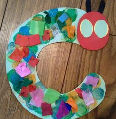 Cute hungry caterpillar - tissue collage