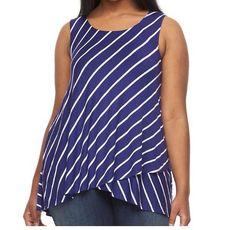 cfb56b36764 NWT Womens Apt.9 Sleeveless Empire Purple Tulip Hem Tank Top Shirt Plus Sz  2X