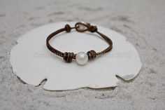 Leather pearl bracelet  pearl leather jewelry  leather   Etsy
