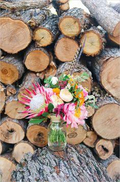 protea and peony bouquet @weddingchicks