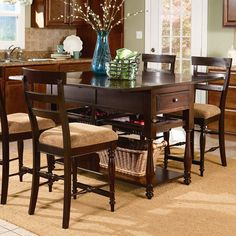 I pinned this Gresham Kitchen Island Table from the Dine in Style event at Joss and Main! Stools For Kitchen Island, Kitchen Seating, Counter Height Dining Sets, Dining Room Sets, Dining Table In Kitchen, Kitchen Decor, Kitchen Ideas, Kitchen Islands, Kitchen Updates