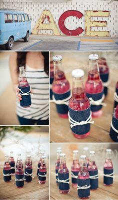 how cute - use reclaimed denim to wrap bottles and vases for a party