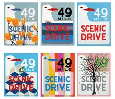 49 Mile Drive Postcard Set from 3 Fish Studios -- Cards are offset printed with soy inks on recycled 16 pt. card stock. These make great gifts, and are suitable for framing. $10