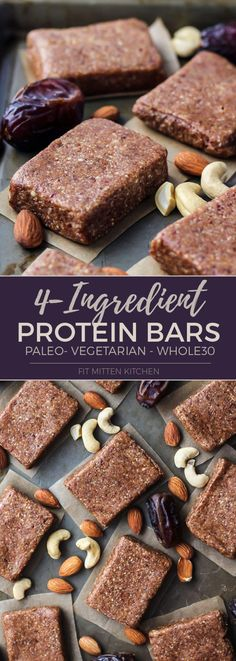 These 4-Ingredient Homemade Protein Bars are paleo, vegetarian and Whole30 compliant! (Made like the RXBARS!)