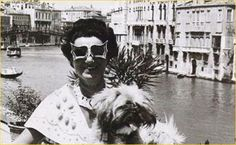 """MARGUERITE """"PEGGY"""" GUGGENHEIM  (1898–1979) was an American art collector, bohemian and socialite. Born to a wealthy NYC family, she went to live in Paris in her early 20s, where she befriended many avant garde writers and artists. In 1938 she opened a gallery for modern art in London. Returning to NYC with the start of WWII, she collected more American works. After the war, she settled in Venice, where she exhibited her collection for the rest of her life. She is buried next to her beloved…"""