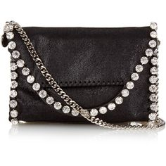 Stella McCartney Falabella tiny embellished clutch ($841) ❤ liked on Polyvore featuring bags, handbags, clutches, stella mccartney, embellished purses, stella mccartney purses, chain handle handbags and embellished handbags