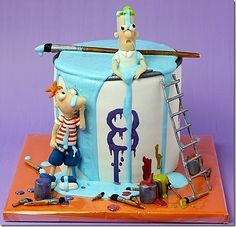 Phineas and Ferb Spilt Paint Cake