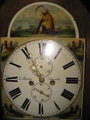 longcase  grandfather clock  painted facehttp://www.antiques-atlas.com
