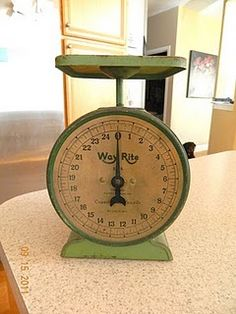 beautiful antique green kitchen scale