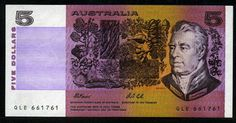 Australian banknotes currency five dollars