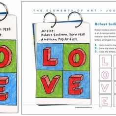 Robert Indiana Art Journal Page. How to draw 3D letters, Robert Indiana style. PDF lesson available. #valentine #love #robertindiana