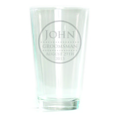 Pub Glass - 16oz - Circle with Dots Design Personalized with dates