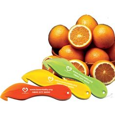Promotional Acrylic Orange Peelers. A combined cutter and knife for safe and easy peeling of oranges.