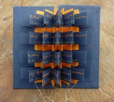 This lovely 'Song of the Loom' (a poem byTunweya Win)book by Cecilia Sharpley isconstructed from nine separate concertina strips and can be purchased via Cecilia's website.