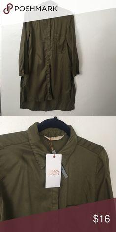 NWT Zara Shirt Dress Medium Basic Denim Dept NeW New with tags Great Army Green Button Down Shirt Dress Medium True to Size Zara Dresses Midi